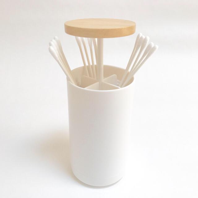 無印良品っぽい⁉ ☆おしゃれな木製ふたの綿棒ケース☆ ポップアップ開閉
