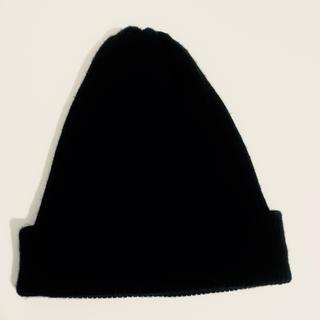 ムジルシリョウヒン(MUJI (無印良品))の【お値下げ】無印良品 リブニットワッチ 黒(ニット帽/ビーニー)