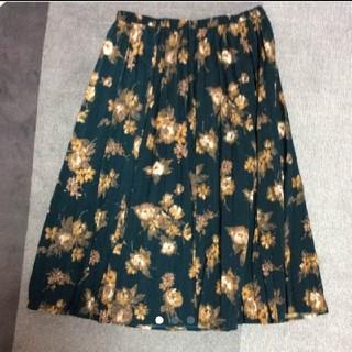 ジーユー(GU)の花柄スカート(ロングスカート)