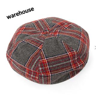 warehouse チェックベレー帽