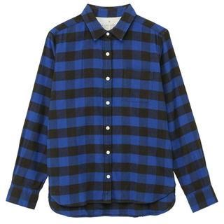 ムジルシリョウヒン(MUJI (無印良品))の新品*無印オーガニックコットンチェックシャツ*ブルー*Sサイズ*定価2990円(その他)