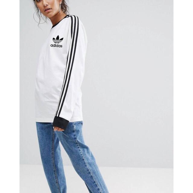 adidas(アディダス)の【 XLサイズ】adidas 新品タグ付  3ストライプ ロングTシャツ 白 レディースのトップス(Tシャツ(長袖/七分))の商品写真