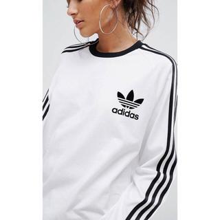 アディダス(adidas)の【 XLサイズ】adidas 新品タグ付  3ストライプ ロングTシャツ 白(Tシャツ(長袖/七分))