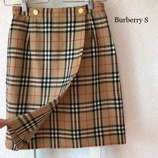 バーバリー(BURBERRY)のBurberryノバチェック ♡ 巻きスカート 金ボタン (ひざ丈スカート)