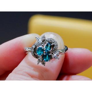 《ブラジル産》青味強めのパライバトルマリン0.48ct&高品質ダイヤ0.31ct(リング(指輪))