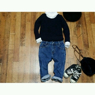 韓国子供服 リブニット キッズ100(Tシャツ/カットソー)