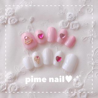ピンク×ホワイト♡スイーツネイル