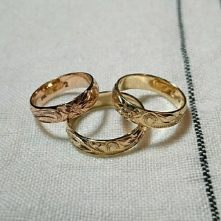 《Hawaiian jewelry》14k スクロール リング 4mm 各種(リング(指輪))