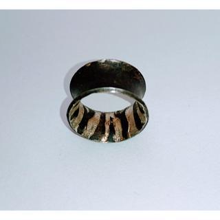 デザイン リング シルバー ファッションリング レア 13号 ブラウン ゼブラ柄(リング(指輪))
