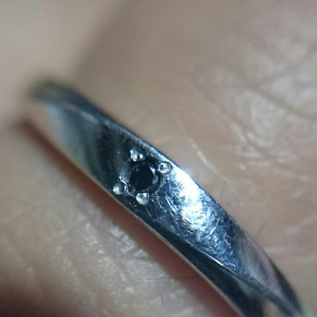 値下げ 天然ブラックダイヤ pt100 リング レディースのアクセサリー(リング(指輪))の商品写真