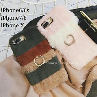 即購入ok 値下✨新品❤️ファー リング付き iPhone6/6s 対応 カバー(iPhoneケース)