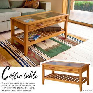 北欧 天然木仕様の木製収納センターテーブル (ローテーブル)