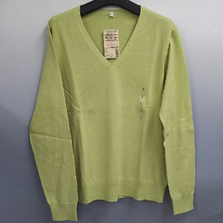 ムジルシリョウヒン(MUJI (無印良品))の新品 無印良品 オーガニックコットンシルクVネックセーター・ライトグリーン・L(ニット/セーター)