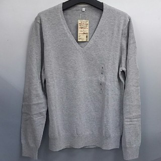ムジルシリョウヒン(MUJI (無印良品))の新品 無印良品 オーガニックコットンシルクVネックセーター・ライトグレー・L(ニット/セーター)