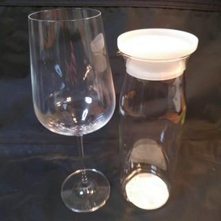 ムジルシリョウヒン(MUJI (無印良品))のクリスタル ワイン グラス 大 & 無印良品 耐熱ガラス ピッチャー 大 セット(グラス/カップ)
