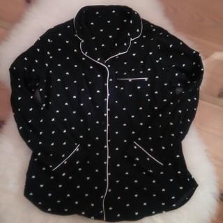 ジーユー(GU)のGU ジーユーパジャマ ハート 綿 Sサイズ 黒 ブラック ルームウェア(パジャマ)