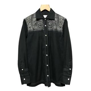 エィス(A)のA エィス スカル 刺繍シャツ / ドクロ クロスボーン ボタニカル プリーツ(シャツ)