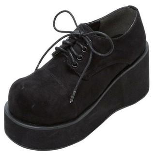ユメテンボウ(夢展望)の厚底レースアップおでこ靴・新品未使用・黒スエード(ローファー/革靴)