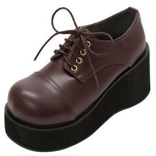 ユメテンボウ(夢展望)の厚底レースアップおでこ靴・新品・チョコブラウン(ローファー/革靴)