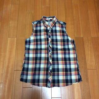 チェックのノンスリーブシャツ(シャツ/ブラウス(半袖/袖なし))