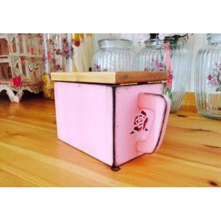 木製 薔薇の調味料入れキッチンストッカーコンテナアンティーク調ローズモチーフ(その他)