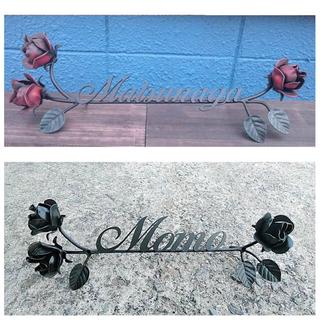 アイアン製 豪華な薔薇の表札バラアンティーク調ネームプレートローズ新築贈り物(ウェルカムボード)