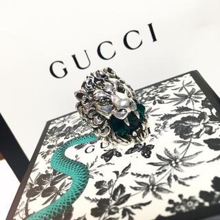 グッチ(Gucci)のGUCCI 19号 ライオンリング グリーン プリンスタウン デニム ニット(リング(指輪))