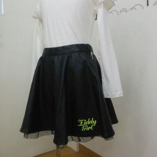 ジディー(ZIDDY)のZIDDY (ベベ)フェイクレザーフレアミニスカート 新品タグ付き160ブラック(スカート)