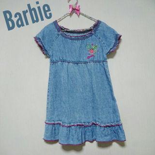 バービー(Barbie)の美品♥️Barbie ワンピース 4/5 子供服 バービー デニム刺繍(ワンピース)