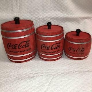 コカコーラ(コカ・コーラ)のコカコーラ 木製樽型小物入れセット!(小物入れ)