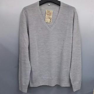 ムジルシリョウヒン(MUJI (無印良品))の新品 無印良品 ウールシルク Vネックセーター・ライトグレー・L(ニット/セーター)