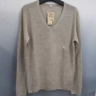 ムジルシリョウヒン(MUJI (無印良品))の新品 無印良品 ウールシルク Vネックセーター・オートミール・L(ニット/セーター)
