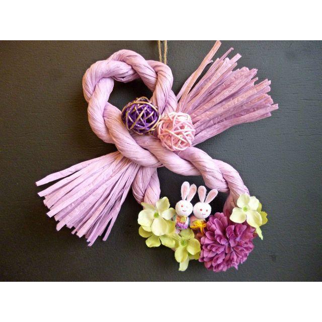 【ひな祭り】桃の節句リース ー兎 ハンドメイドのフラワー/ガーデン(リース)の商品写真