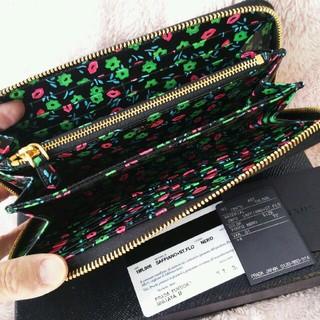 プラダ(PRADA)のプラダ 新作  極美品 花柄 サフィアーノ ラウンドファスナー(財布)