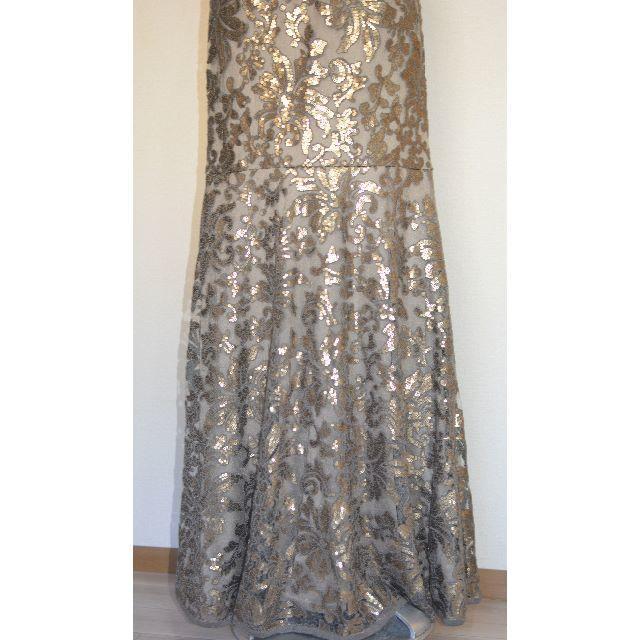 【新品タグ付】Tadashi shoji スモークペールロングドレス 4(細身) レディースのフォーマル/ドレス(ロングドレス)の商品写真