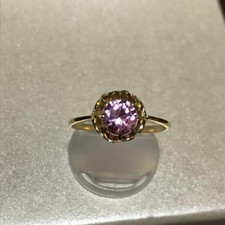 【週末限定値下げ】 K18  天然ジルコン 菊爪リング(リング(指輪))