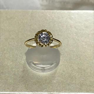 K18  天然ジルコン 菊爪リング(リング(指輪))