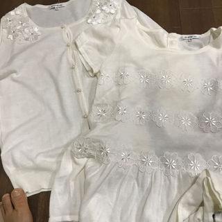 ニジュウサンク(23区)の白お花レースアンサンブル夏用未使用(アンサンブル)