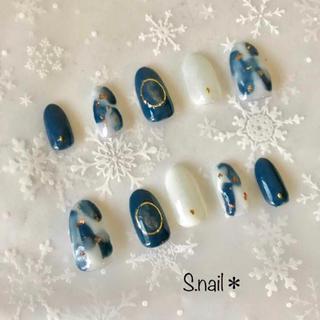 ネイルチップ 冬ネイル ブルー系 ジェルネイル