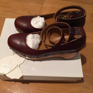 ジェーンマープル(JaneMarple)の美品☆ウッドソールのビジュートリミングシューズ(ローファー/革靴)