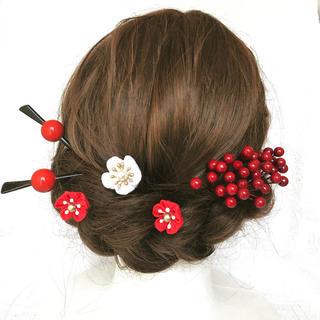 つまみ細工 南天と玉かんざしの髪飾り(和装小物)