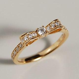 【39%OFF】Avaron K18 ゴールド ダイヤ リボン リング 指輪(リング(指輪))