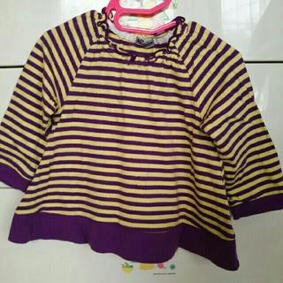 シマムラ(しまむら)のパープルボーダーシャツ(Tシャツ/カットソー)