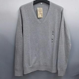 ムジルシリョウヒン(MUJI (無印良品))の新品 無印良品 オーガニックコットンシルクVネックセーター・ライトグレー・XL(ニット/セーター)