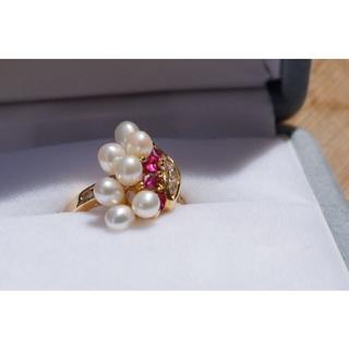 美品☆真珠(パール)とルビーとダイヤモンドのリング6号 K18(リング(指輪))