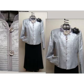 【新品】大きいサイズ 13号 シルバーグレーJkx黒ロング2p 結婚式等!467(スーツ)