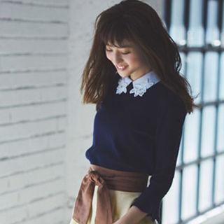 リランドチュール(Rirandture)の刺繍襟付きフレア袖ニットプルオーバー(ニット/セーター)
