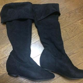 インデックス(INDEX)のINDEX 黒ロングブーツ スウェード 23センチ(ブーツ)