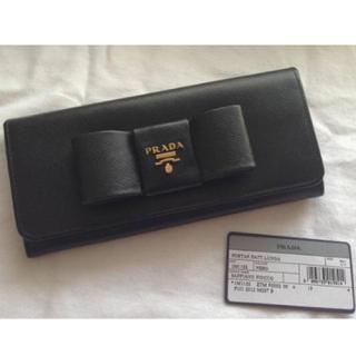 プラダ(PRADA)のPRADA リボン黒長財布 新品(財布)