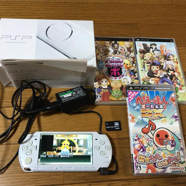 PlayStation Portable(プレイステーションポータブル)のPSP本体とソフト3本 エンタメ/ホビーのテレビゲーム(携帯用ゲーム本体)の商品写真